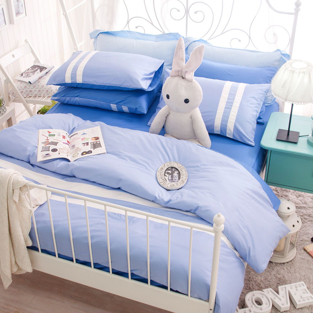 OLIVIA  水藍 白 天空藍  特大雙人床包被套四件組 素色無印