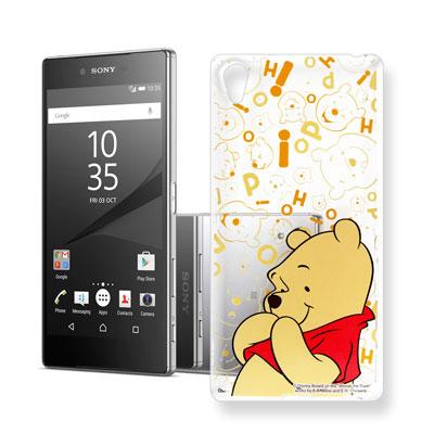 迪士尼 索尼 Xperia Z5 Premium 大頭背景透明手機軟殼(摀嘴維尼...