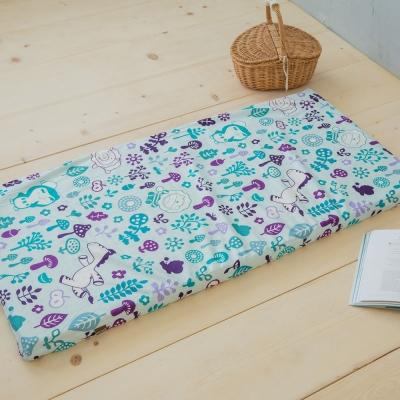 奶油獅-好朋友系列-台灣製造-100%純棉5CM嬰兒床墊專用布套(70*130cm)水漾藍