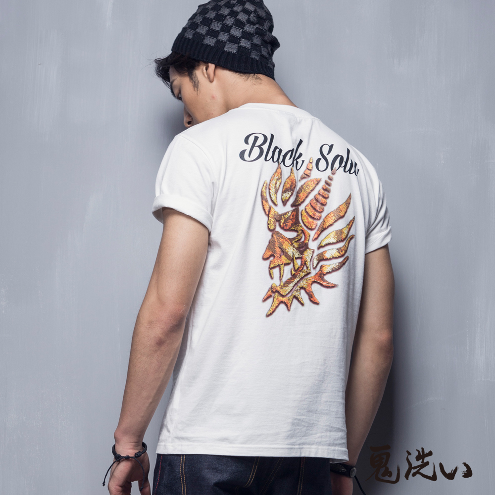 鬼洗 BLUE WAY 老虎紋印花鬼頭短袖T恤-米色