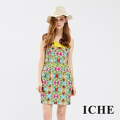 ICHE 衣哲 荷葉拼接馬甲線條印花造型洋裝