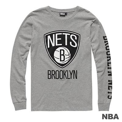 NBA-布魯克林籃網隊BIG LOGO印花長袖T恤-麻灰 (男)