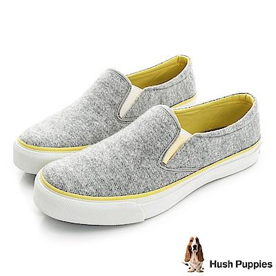 Hush Puppies 斜紋毛呢咖啡紗中性懶人鞋-灰色