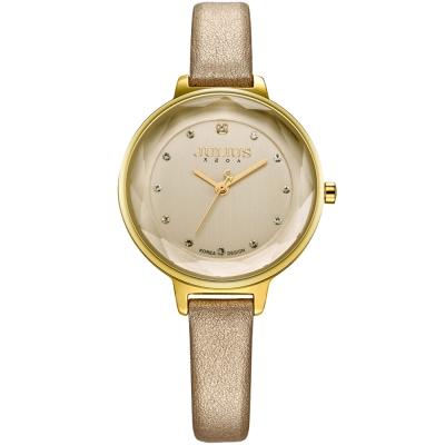 JULIUS聚利時 濃情時刻水鑽刻度皮錶帶腕錶-金/32mm