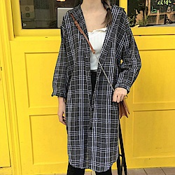 La Belleza百搭格子排釦長版襯衫外套
