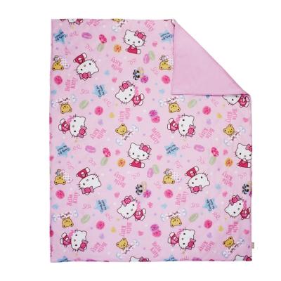 鴻宇HongYew 日本抗菌 100 %精梳棉Hello Kitty甜蜜夥伴 粉 兒童涼被