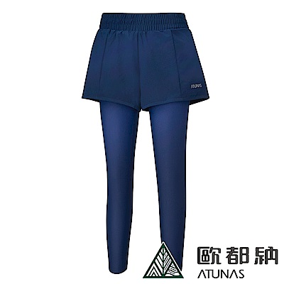 【ATUNAS 歐都納】女款運動假兩件彈性長跑褲A1-PA1815W深藍/慢跑韻律瑜珈