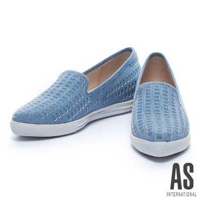 休閒鞋 AS 牛仔風格打洞造型羊麂皮厚底休閒鞋-牛仔藍