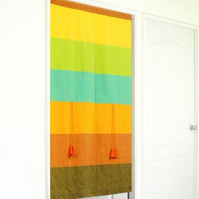 布安於室-色塊純棉中開式長門簾-混色