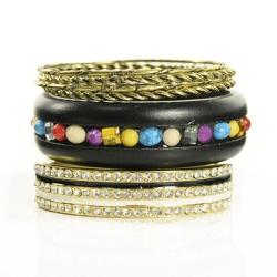 Aimee Toff 貴氣排鑽氣勢多層次手環(黑)