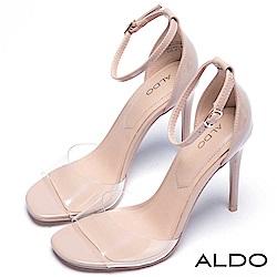 ALDO 原色果凍魚口鞋面繫踝細高跟涼鞋~名媛裸色