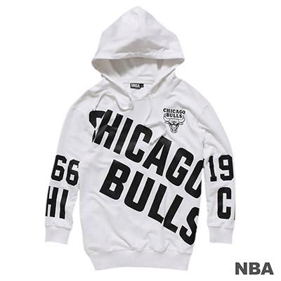 NBA-芝加哥公牛隊滿版印花連帽長袖T恤-白-女
