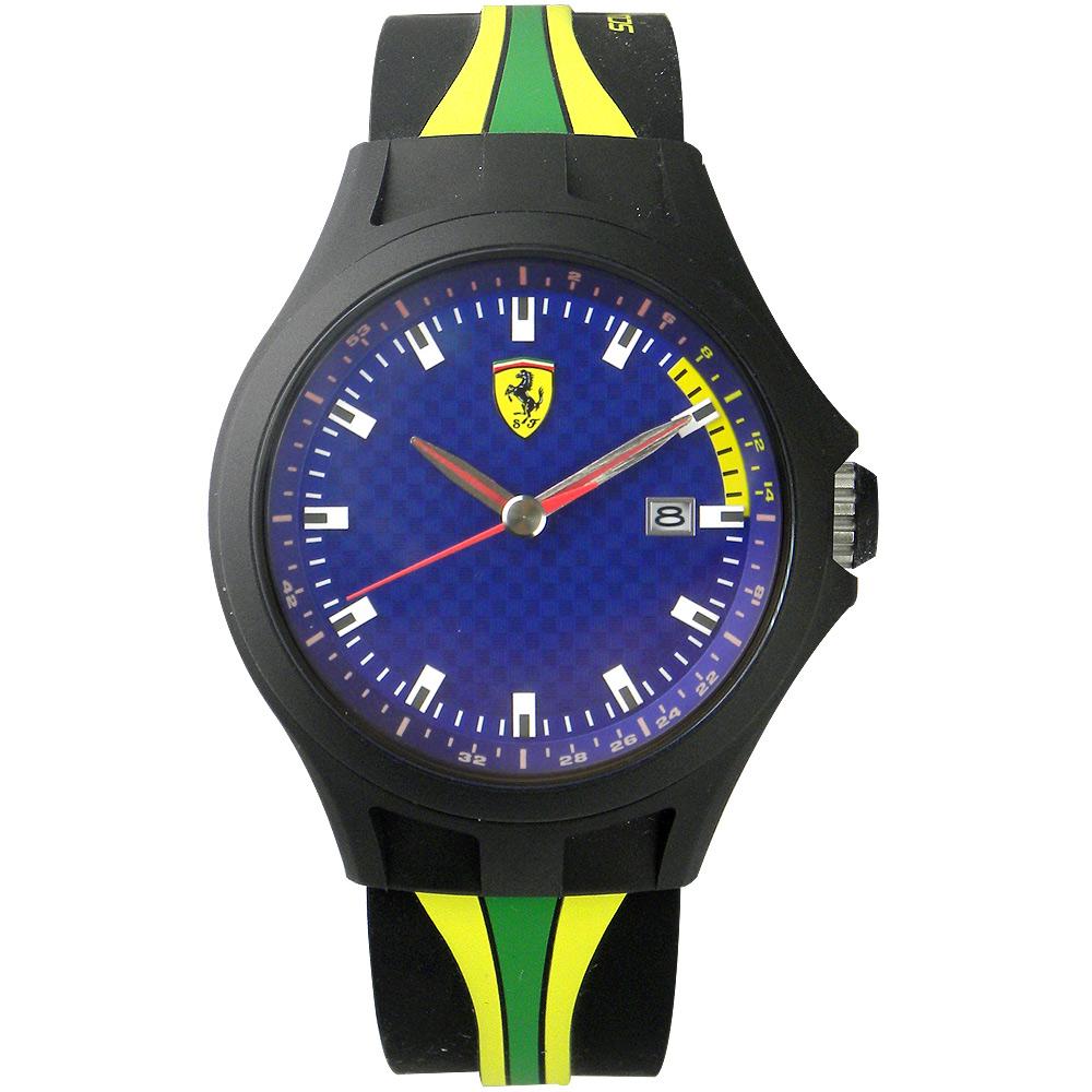 Scuderia Ferrari 法拉利 經典賽車格紋日期運動錶-藍x黑/43mm