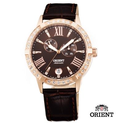 ORIENT 東方錶 ELEGANT系列 雙眼鑲鑽機械女錶-咖啡色/37mm