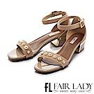 Fair Lady 珍珠裝飾一字低鞋涼跟 芋粉
