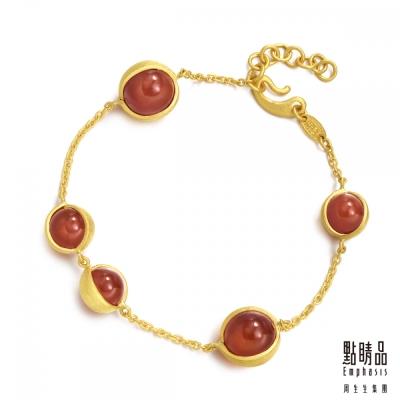 點睛品Emphasis 黃金手鍊- g* collection -純金紅瑪瑙手鍊