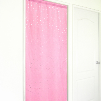 布安於室-銀色星空遮光長門簾-粉色-寬130x高180cm