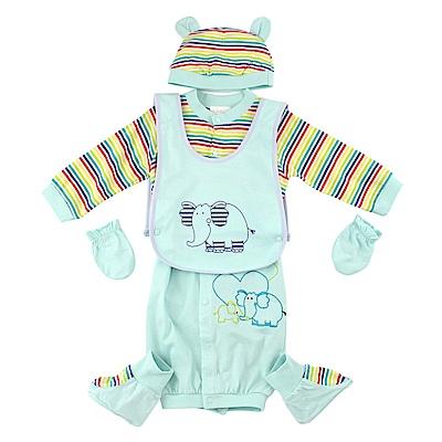 愛的世界 純棉大象長袖兩用嬰衣5件組禮盒/6M~1歲