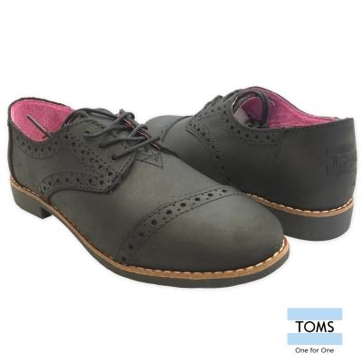 TOMS-時尚皮革牛津鞋-女款-黑