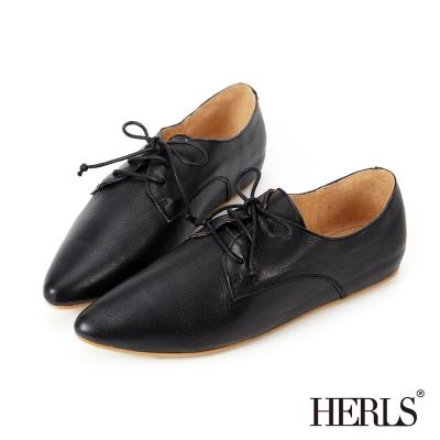 HERLS 全真皮 綁帶內增高德比牛津鞋-黑色