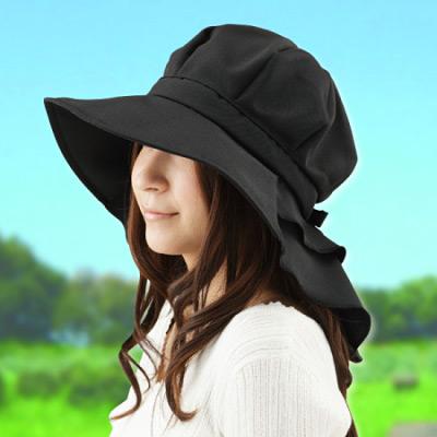 【Sunlead】日系馬尾寬緣護頸透氣抗UV防曬圓頂遮陽軟帽 (黑色)