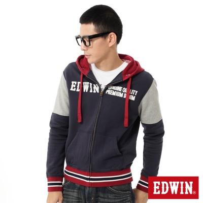 EDWIN-自在休閒配色連帽拉T-男款-丈青