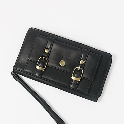 CALTAN-拉鍊長夾 女用皮夾 手提女夾 可放置零錢信用卡手機-2080ht-bk