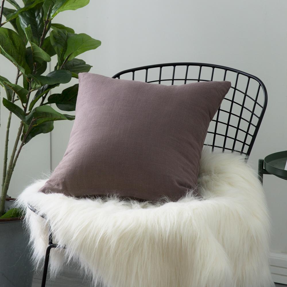 IN HOUSE-棉麻抱枕-咖啡(45x45cm)-買一送一