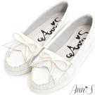 Ann'S柔軟全真牛皮流蘇蝴蝶結小白鞋-白