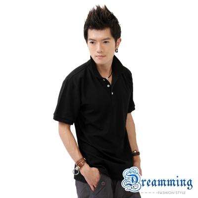 Dreamming 美式素面網眼短袖POLO衫-黑色/麻灰(二色)