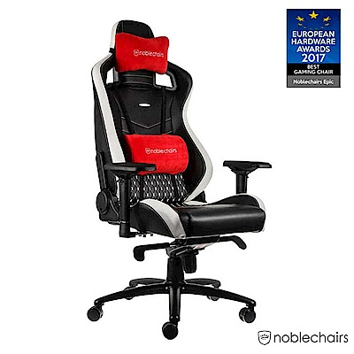 noblechairs 皇家 EPIC 系列電競賽車椅 (真牛皮經典款) - 黑白紅