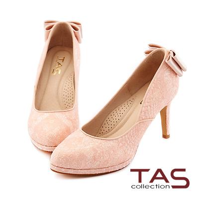 TAS 後跟雙層蝴蝶結蕾絲高跟鞋-浪漫粉