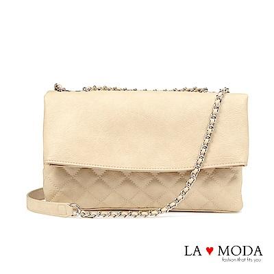 La Moda 約會必備小香風菱格紋肩背斜背鍊條包(白)