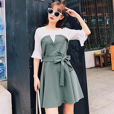 圓領荷葉袖假兩件拼洋裝 (灰綠色)-Kugi Girl