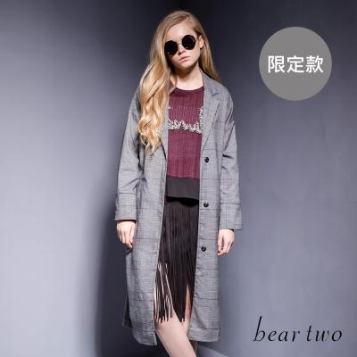 beartwo 威爾斯王子格長版綁帶外套(灰色)