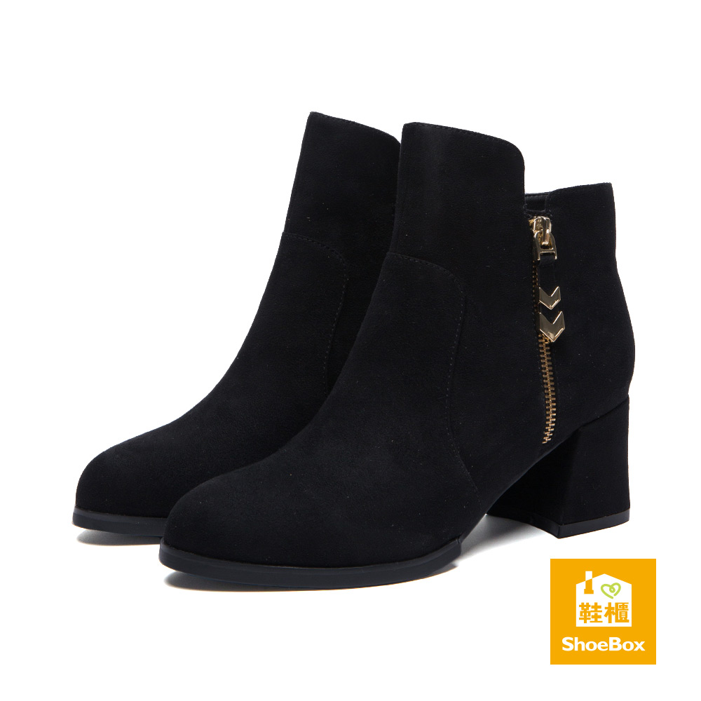 鞋櫃ShoeBox 短靴-造型拉鍊拼接尖頭粗跟踝靴-絨布黑
