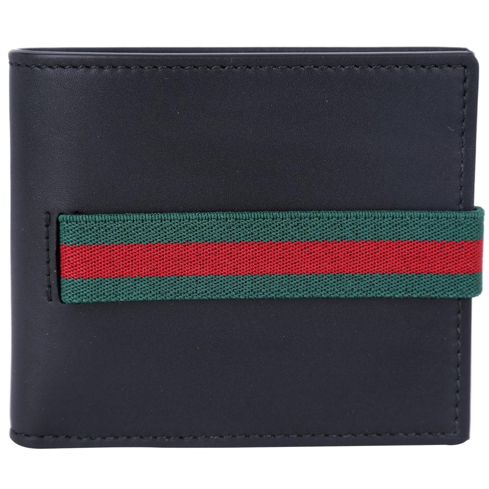 GUCCI Elastic Leather 紅綠織帶對折短夾(黑色)GUCCI