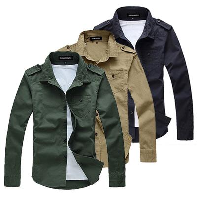 美國熊 軍裝風格  合身版 肩章款式長袖襯衫