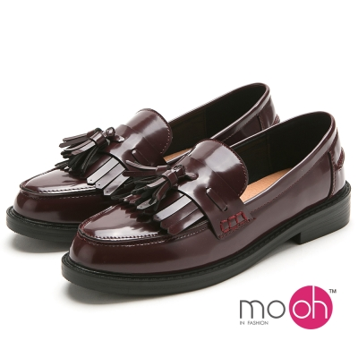 mo.oh -流蘇英倫紳士鞋低跟樂福鞋-酒紅色