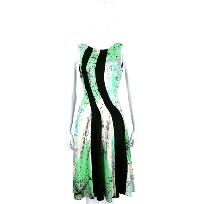 CLASS roberto cavalli 綠黑拼色印花設計無袖洋裝
