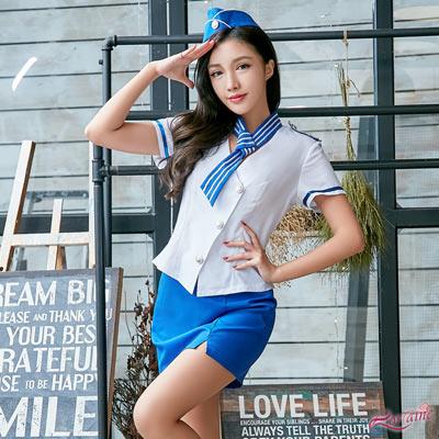 空姐服 甜美俏麗藍白色空姐角色扮演服三件組(白+藍F) Lorraine
