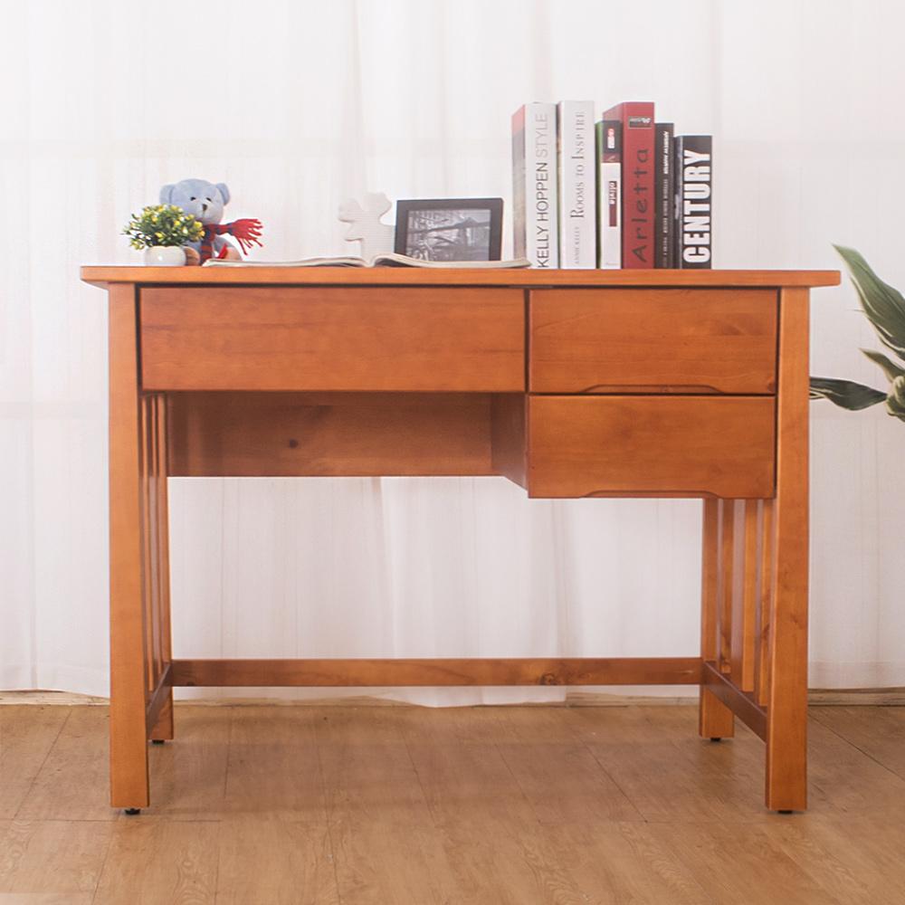 Bernice-查理3.5尺實木三抽書桌-106x60x79cm