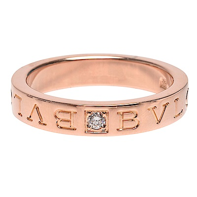 BVLGARI 經典BVLGARI BVLGARI字母烙印18K玫瑰金鑽石鑲嵌戒指#13