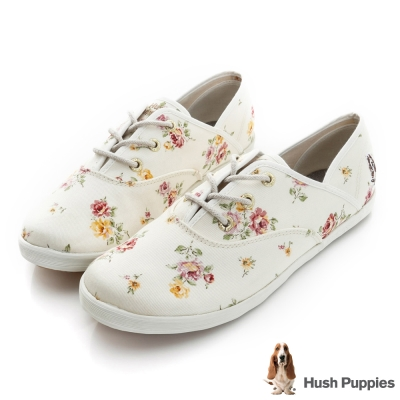 Hush Puppies 仙氣飄飄咖啡紗帆布鞋-米白