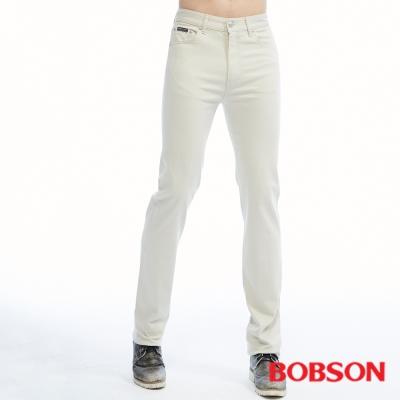 BOBSON   男款保暖高腰膠原蛋白直筒褲-淺卡其