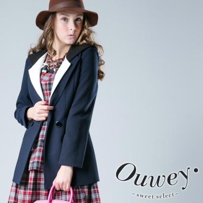 OUWEY歐薇-配色西裝彈性外套