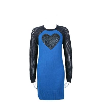 LOVE MOSCHINO 藍色心型亮片拼接針織長袖洋裝