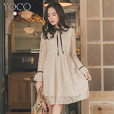 東京著衣-yoco 甜美透肌滿版蕾絲荷葉綁帶洋裝-S.M.L(共二色)