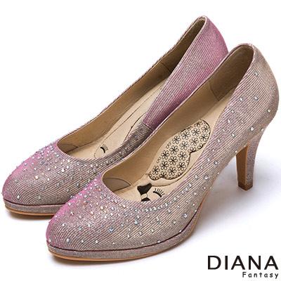 DIANA 超厚切LADY款--奢華時尚金蔥耀眼水鑽跟鞋-粉