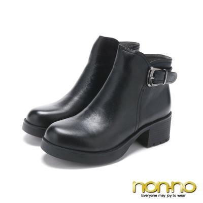 nonno 簡約知性皮扣真皮短靴-黑